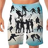 Ice Hockey Player Men's Summer Beach Quick-Dry Surf Swim Trunks Boardshorts Cargo Pants L