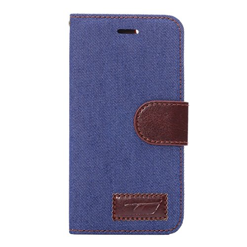 "inShang Hülle für Apple iPhone 6 Plus iPhone 6S Plus 5.5 inch iPhone 6+ iPhone 6S+ iPhone6 5.5"", Cover Mit Modisch Klickschnalle + Errichten-in der Tasche + FLOWER CLOTH PATTERN, Edles PU Leder Tasche Jean cloth navy blue"