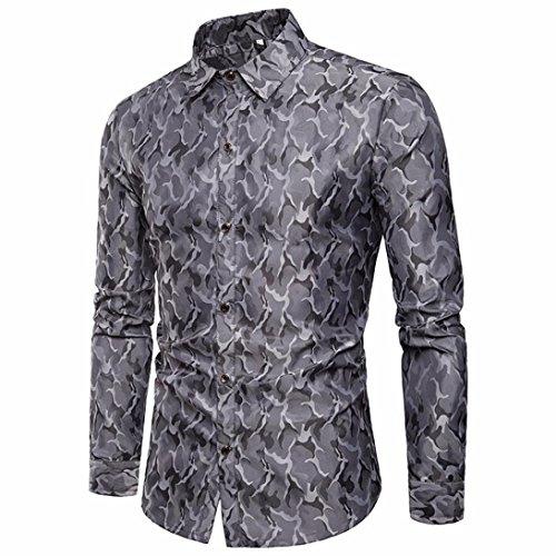 TEBAISE Urlaub Oktoberfest Mode Herren Hochzeit Clubbing Dance Anzug Hemd  Slim Fit Streifen Langarm Casual Button Shirts Formale Top  Bluse(Grau,EU-50 CN-L) 6afe96f98b