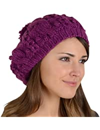 Sierra Beret Hat Chunky Cable Knit Pom Pom Bobble Winter Accessory Deep  Orchid e08fe71a3af7
