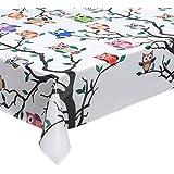 Hule lavable (140 cm de ancho, venta por metro), diseño de búhos