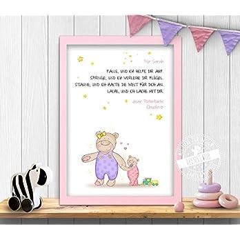 Patenbrief Taufbrief Geschenk Taufe, für Patenkind von Taufpaten, personalisierbar Taufspruch Bären