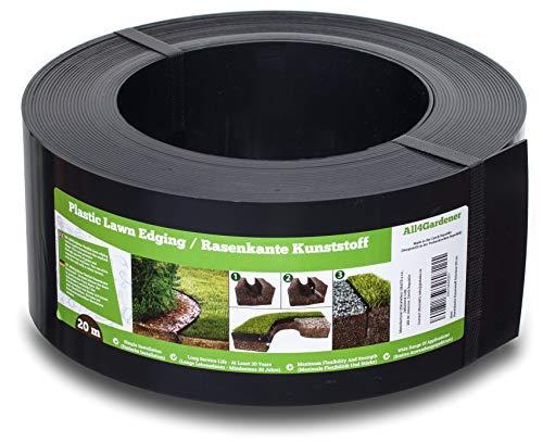 Flexible Borde de Jardín - Bordillo Escondido Plastico - Longitud 20 m (120 mm) - Instalación Simple, Flexibilidad Máxima, Suficientemente Fuerte, Made in EU - Borduras Jardín, Bordillos Para Jardín