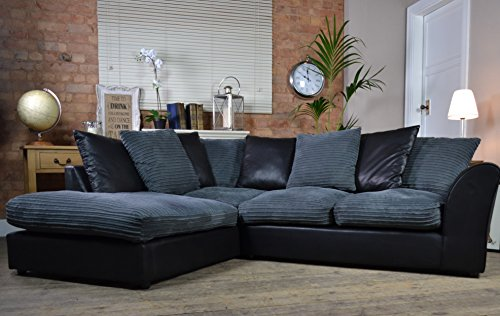 Bailey Left Hand Facing Corner Sofa Black Bison Grey Cord