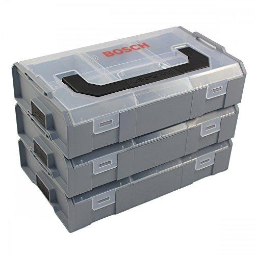 3x Bosch Sortimo L-Boxx Mini Professional leer 260x63x155 grau - Deckel transparent Bosch-mini-systeme