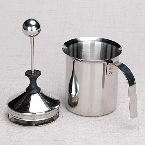 Lysport 400ML Manuelle Milchaufschäumer Edelstahl Milchaufschäumer Doppel mesh Schaumbecher Schaumstoff Sahnekännchen für Cappuccino Latte Macchiato