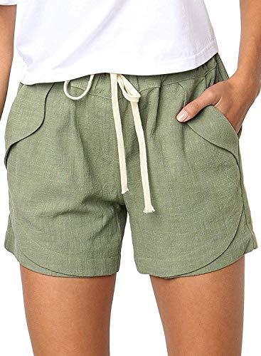 Shorts Damen Sommer Kurze Hosen Tunnelzug Elastische Stoffhose Solide Baumwolle Leinen Strand Shorts mit Taschen (Grün, X-Large) -