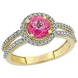 14ct oro amarillo Natural de color topacio Diamante redondo del anillo Halo 6 mm, Tamaños J - T