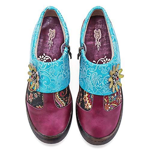 gracosy Mocassins Cuir Femmes, Chaussures Bateau de Ville Printemps Été Mary Janes Ballerine Plates Semelle Confortable Originales Colorées Bohème Multicolore Bleu