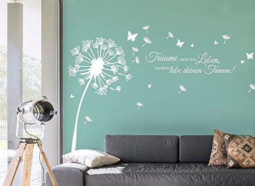 Wandora W1511 Wandtattoo Pusteblume + Schmetterlinge + Zitat Träume Nicht Dein Leben, sondern lebe deinen Traum!