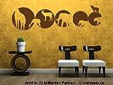 Wandtattoo Afrika Safari Tiere im Kreis mit Elefanten fürs Wohnzimmer / Flur 29x8 cm, schwarz, 600203 Wandaufkleber Wandtatoos Sticker Aufkleber für die Wand, Fensterbild