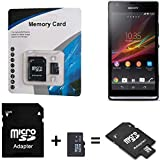 K-S-Trade pour Sony Xperia SP 32 GB Carte Micro SD SDHC + Adaptateur de Carte SD 2en1 Carte mémoire Flash 32Go 32GB Classe 10 C10 U1 V10 HC Carte mémoire Haute Vitesse SDHC pour Sony Xperia SP