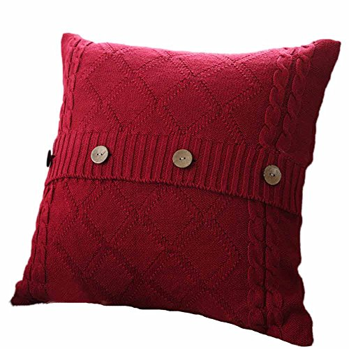 TTLOVE Knitting Button Fashion Throw Pillow Cases Cafe Sofa Cushion Cover Home Decor ZierkissenbezüGe Stricken Taste Mode Dekokissen Kissenbezug KissenhüLle Strick Warm Sofakissen (Wein)