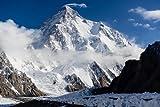 K2 SNOW-CAPPED MOUNTAIN poster borders PAKISTAN & CHINA raw
