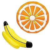 2-teiliges Luftmatratzen-Set XXL Banane (155cm) + Orange (150cm) - Die echten Hingucker an Strand & Pool!