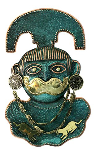 NOVICA Décoratif archéologique cuivre et le masque de bronze, vert « Le Seigneur de Sipan » Cuivre/Bronze