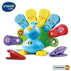 VTech- Pavo Real Formas y Colores Mascota interactiva con Luces Canciones y melodías. (3480-525822)