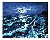 qingchunwuhui Pittura a Olio Luna, Mare, Surf Il Rotolo di Onde Paesaggio Decorazione Romantica Arte Soggiorno Colorare con I Numeri Soggiorno Modulare Decor Arte 16x20inch(40x50cm)