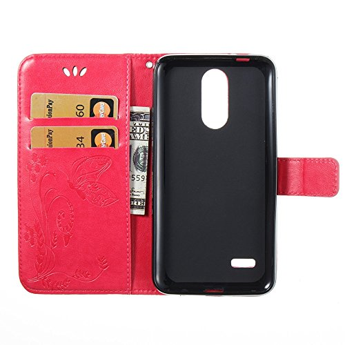 EKINHUI Case Cover Horizontale Folio Flip Stand Muster PU Leder Geldbörse Tasche Tasche mit geprägten Blumen & Lanyard & Card Slots für LG K4 2017 European Edition ( Color : Rose ) Rose