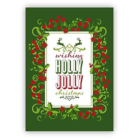 Grußkarten Set zum Fest (10Stk) Schöne grüne Weihnachtskarte mit Beeren Kranz und Hirschen: wishing holly jolly christmas