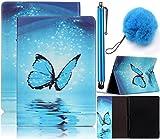 Vandot PU Funda Flip Case para Samsung Galaxy Tab A T580 10.1 Pulgadas Caso de Cuero con la Función del Soporte Pintado Cubierta Caja Protectora de la Tableta para Samsung Galaxy Tab A 10.1 2016 SM-T580 T585 Tablet + 1x Aguja/Lápiz Táctil + 1x Pompón Bola de pelo - Mariposa Azul