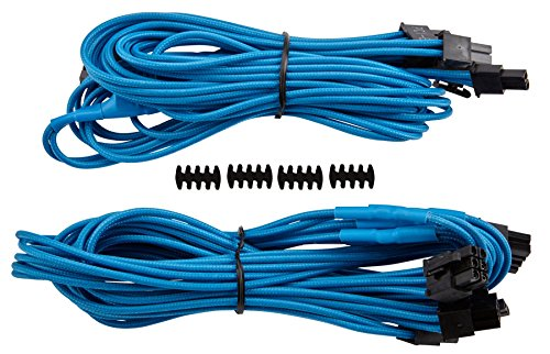 "Corsair CP-8920180 Premium Sleeved \""RMi-, RMx,- SF und Typ4 (Generation 3)-Serie\"" Netzteil 6 plus 2-Polig-PCIe-Dual-Kabel blau"