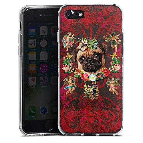 Apple iPhone X Silikon Hülle Case Schutzhülle Mopsi Engel Blumen Mops Hund Silikon Case transparent