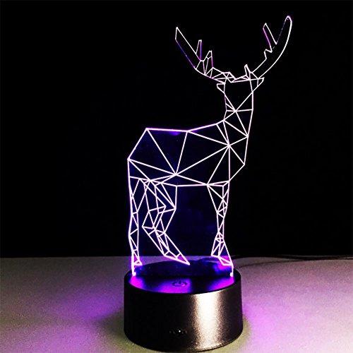 baby Q 3D LED Nachtlicht Lampe, Rotwild-bunte Noten-Lichter, visuelle Stereolithographie-Lichter, romantische Nachttischlampen, USB-Lichter Baby-kinderzimmer Deckenventilator
