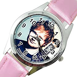TAPORT® ED SHEERAN Quartz ROUND Watch PINK Real Leather Band +FREE SPARE BATTERY+FREE GIFT BAG