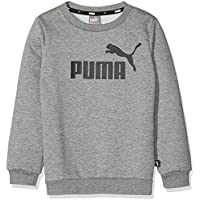 Puma ESS Logo Crew FL Sweatshirt, Niños, Medium Gray Heather, 176