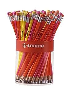 STABILO Godet 72 Crayons papier Grafito Héxagonal Corps et gomme FLUO Aléatoire HB