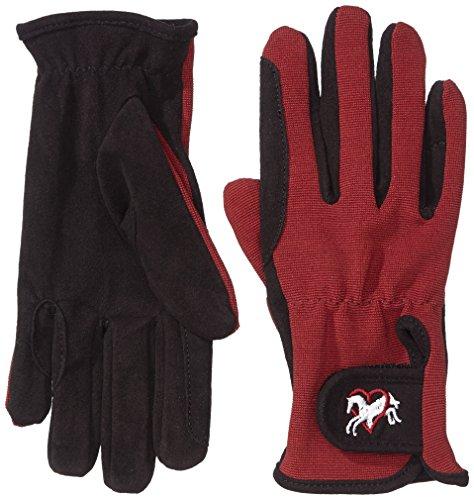 Riders Trend Erwachsene Reiter Handschuhe Reithandschuhe Amara Palm mit Elastan-Material Atmungsaktiv, Black/Bordeaux, XS