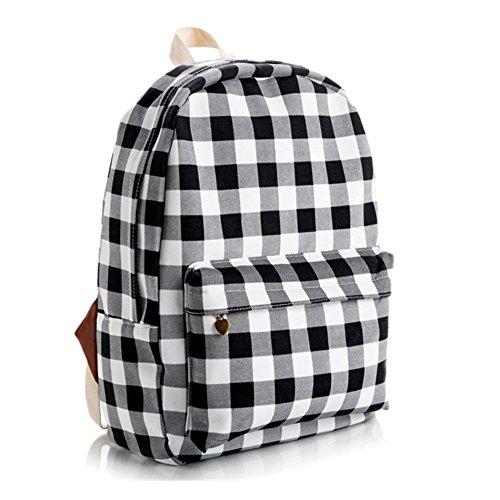 Lawevan Es Taschen Kollektion Damen Damen Land-Art-Rucksäcke Schultaschen Schwarz und weiß