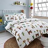 Happy Company Llama Mexicana alpaca cactus reversibile biancheria da letto set copripiumino, Cotone, White, King