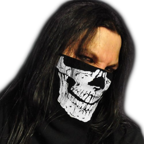 WINDMASK Fleece Bandana Ski Snowboard Biker Motorrad Schal Scarf Maske - Skull Face Totenkopf, Größe:L - Kopfumfang (50-65 cm)