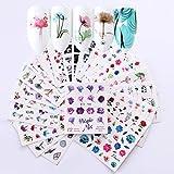 24 PCS Nagelsticker Nagel Aufkleber, Nail Art Sticker Set Aufkleber Home Maniküre Decals für Kinder Mädchen Frauen DIY Anfänger Nagelstudio