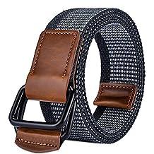 Leisial™ Cinturón de Lona Hombre Hebilla Doble Ocasional Cinta Trenzada Cinturones Hebilla de Metal Deporte al Aire para Hombre Mujer