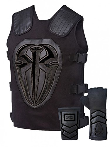 Unbekannt Kostüm Roman Reigns Weste Handschuh Set Onyx Schwarz (Roman Reigns Kostüm)