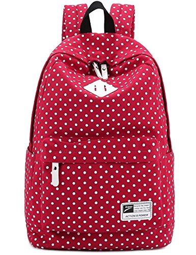 Imagen de  bolsa de hombro bolso de lona  de lunares trendy moda modismo para chichas viaje bolsa para pc portátil revista a4 ipad etc rojo  alternativa