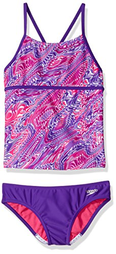 Speedo Girls Twirly Swirl Strappy Tankini Two Piece, Speedo Purple, Size 8 -