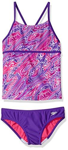 Speedo Tankini Nylon (Speedo Girls Twirly Swirl Strappy Tankini Two Piece, Speedo Purple, Size 8)