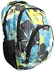 De taille moyenne Sac à dos Sac d'école imprimé floral bleu et jaune, sac à dos ou un bagage à main de qualité supérieure enfants sac à dos