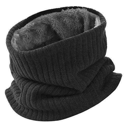 Hidarling invernale berretti in maglia con sciarpa invernale beanie set cappello in lana sintetica calda per uomo/donna (nero)