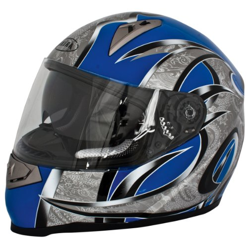 Akira Motorradhelm Mito RO 200i Integral mit Sonnenvisier, schwarz/blau, L, 20094 Preisvergleich