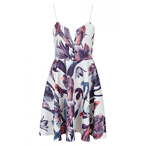 Ladies filles Plunge Cami Botanic Floral Print Skater Dress EUR Taille 36-42 Crème Avec Floral Violet