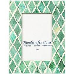 Handicrafts Home Kunsthandwerk Home 4x 6Foto Rahmen Grün Weiß Bone Mosaik Marokkanische Bilderrahmen, Diamant, 10 x 15 cm
