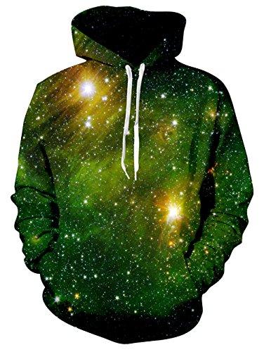Bfustyle 3d Grüne Nebula Printed große Tasche Hoodie Pullover für Herren (Kleine Jungen Wintermäntel Größe 7)