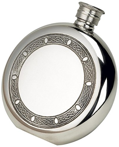 budd-leather-pewter-celtic-frame-round-flask-6-ounce-silver-by-budd-leather