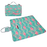 COOSUN Flamingo Vögel Muster Picknick Decke Tote Handlich Matte Mehltau resistent und wasserfest Camping Matte für Picknicks, Strände, Wandern, Reisen, Rving und Ausflüge