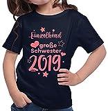 HARIZ  Mädchen T-Shirt Einzelkind Große Schwester 2019 Sterne Große Schwester Geschwisterliebe Bruder Geburt Plus Geschenkkarte Deep Navy Blau 164/14-15 Jahre